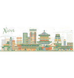 Abstract xian skyline with color buildings vector