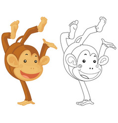 Animal doodle for little monkey vector