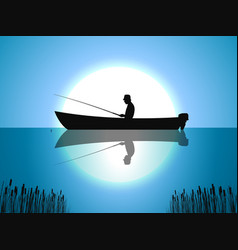 background moon fisherman on boat fishes vector image vector image
