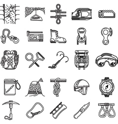 Black icons collection for rock climbing vector image
