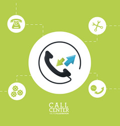 Call center phone customer service vector