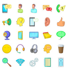 Cell phone icons set cartoon style vector