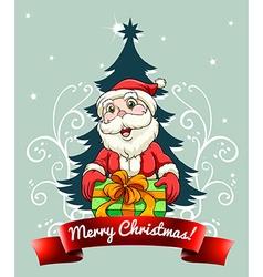 Christmas card with Santa and gift vector image