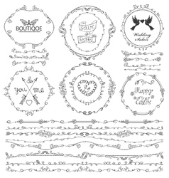 Doodle florish seamless borderwreathframelogo vector