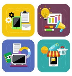Ecommerce and digital marketing concept icon set vector image vector image