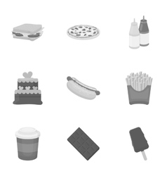 Fast food set icons in monochrome style big vector