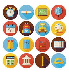 Flat Back to School Circle Icons Set with long vector image