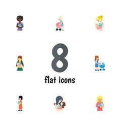 Flat icon mam set of woman mother newborn baby vector