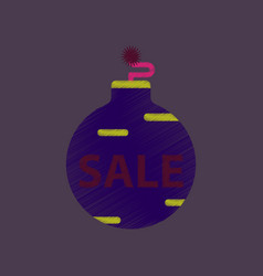 Flat shading style icon christmas ball sale vector