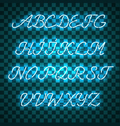 Glowing blue neon uppercase script font vector
