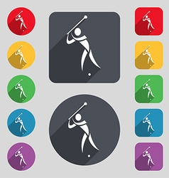 Golf icon sign a set of 12 colored buttons and a vector