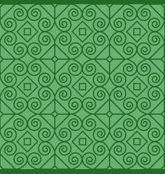 Green pattern with linear swirls vector