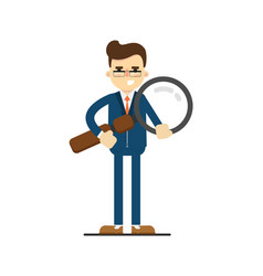 Happy businessman hold big magnifying glass vector