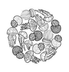 Jellyfish circle design vector image vector image