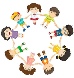 Kids forming a circle vector image vector image