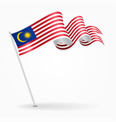 Malaysian pin wavy flag vector