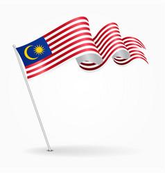 malaysian pin wavy flag vector image vector image
