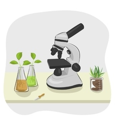 Microscope pipette and plants growing in flasks vector