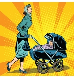 mom and stroller with baby vector image