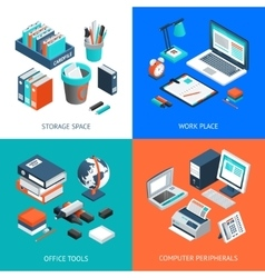 Office 2x2 Isometric Design Concept vector image vector image