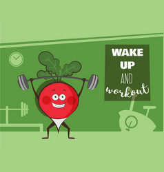 Poster of happy radish exercise at a gym healthy vector