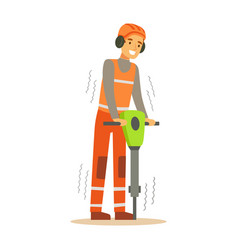 Road worker in headphones working with jackhammer vector