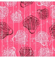 Seamless pink texture with clams vector image