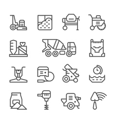 Set line icons of concrete vector