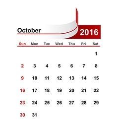 Simple calendar 2016 year october month vector