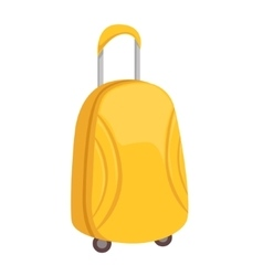 Stylish yellow suitcase on wheels with telescopic vector