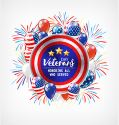 Veterans day honoring all who served usa flag vector