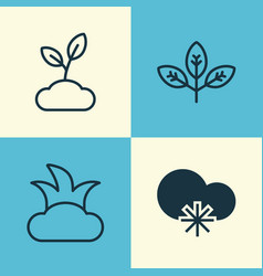 World icons set collection of sprout bush plant vector
