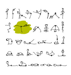 yoga set sketch for your design vector image vector image