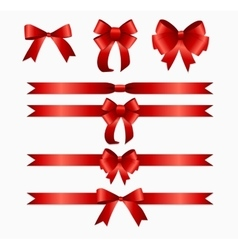 Red ribbon and bow set for birthday and christmas vector