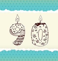 Collection of Birthday Candles 9 and 0 vector image