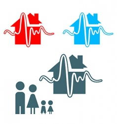Earthquake insurance icon vector