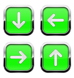 green buttons with arrows square 3d icons with vector image
