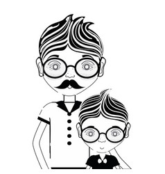 Contour father with his son using glasses vector