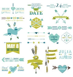 Wedding Graphic Set Arrows Feathers Heart Ribbons vector image