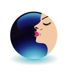 Blue moon lady- logo for beauty salons vector