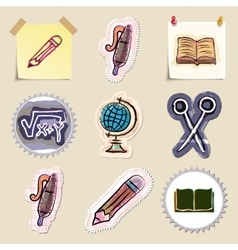 Hand drawn education emblems set Isolated vector image