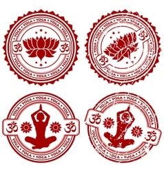 grunge yoga stamps vector image