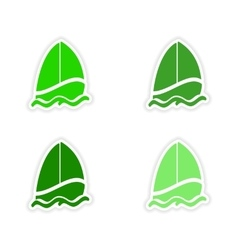 Assembly realistic sticker design on paper sailer vector