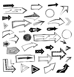 Set of handdrawn arrows on white background vector