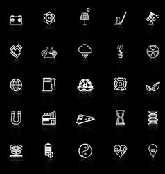 Renewable energy line icons with reflect on black vector