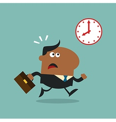 Businessman running late vector
