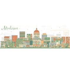 Abstract madison skyline with color buildings vector