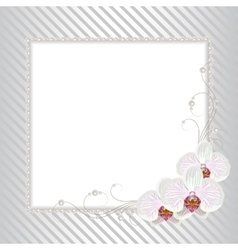 Floral frame with pearls vector
