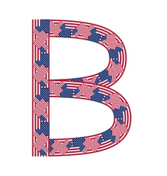 Letter b made of usa flags vector