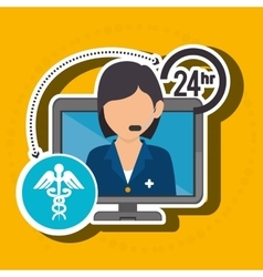 Nurse 24-hour health isolated icon design vector